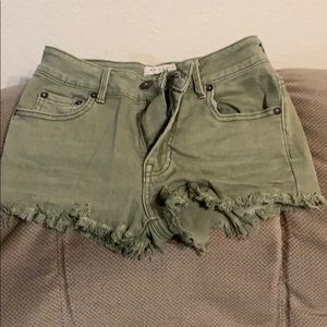Olive green high rise shorts